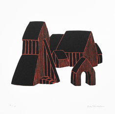Kyrka III (svart/röd)
