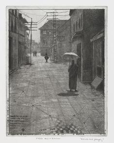 Gående med paraply