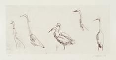 utan titel (6 långhalsade fåglar)