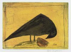 utan titel (svart fågel mot gult)