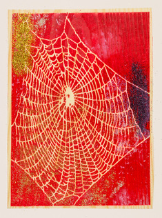 new web - red on wood