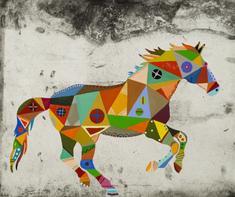 utan titel (brokig häst i galopp)