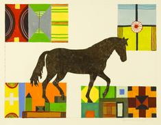 utan titel (svart häst i skritt)