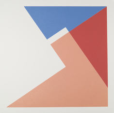 Komposition röd/rosa/blå, var. 1